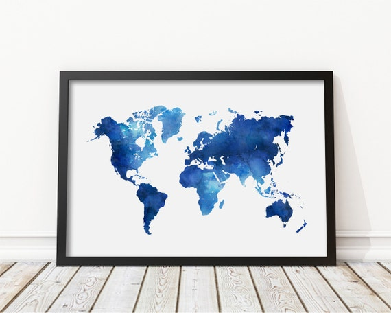 Navy blue watercolor world map print blue world map poster gumiabroncs Choice Image