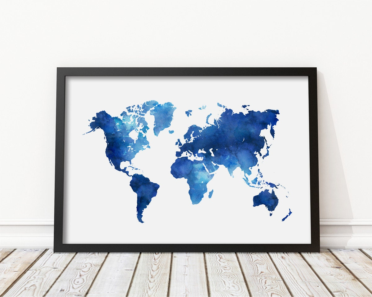 Navy blue watercolor world map print blue world map poster zoom gumiabroncs Images