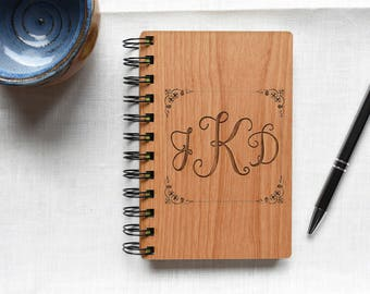 Gift for Women. Personalize Notebook Gift for Mom. Wood Monogram Notebook Cover. Spiral Bound Notebook.
