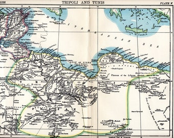 Antique Map, 1906 Map of Tripoli and Tunis, Old Vintage Map, Detailed Encyclopedia Map Page, Original Paper map
