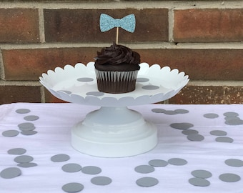 Boy Birthday Party cupcake topper, Bowtie cupcake topper, set of 12 cupcake toppers, Baby shower cupcake toppers
