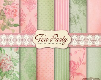 12 Shabby Chic Tea Party Digital Scrapbook Papers. Mint green and Pink.For invites card making digital scrapbooking