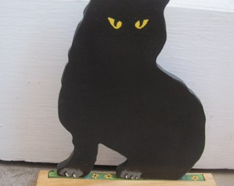 cat lovers black cat halloween wood book shelf door stop piece