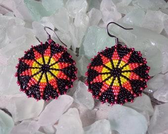 Beaded Cabochon Style Earrings