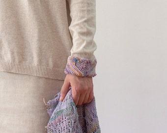 Pastel chevron cuff bracelet, knitted cotton statement jewelry, OOAK