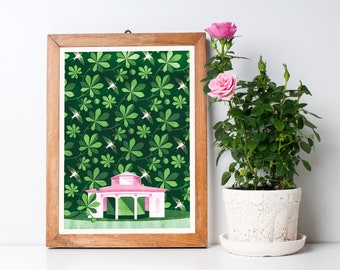 A Walk in a Park Art Print A3 - Green Botanical Pattern, Housewarming Gift, Home Decor, Wall Art