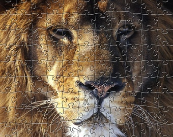 Lion Zen Puzzle - Hand crafted, eco-friendly, American made artisanal wooden jigsaw puzzle