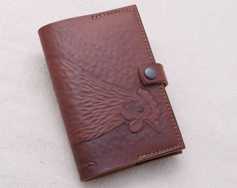Chicken Journal Cover, Pecking Hen, for 5.5 x 3.5 Notebook, Leather Book Cover for Moleskine or Handmade Book, Tooled Chicken, Hen & Rooster