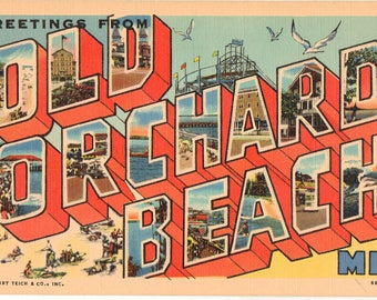 Linen Postcard, Greetings from Old Orchard Beach, Maine,  Large Letter, ca 1950