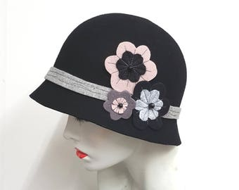 Black wool felt hat flapper style cloche with floral decoration ideal winter hat