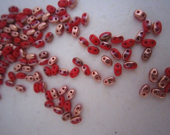 Set (16g) of super duo red and copper - 2.5 x 5 mm