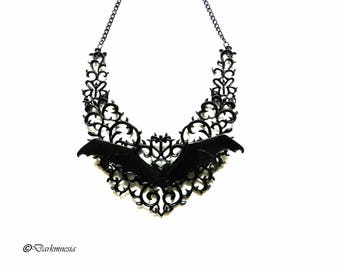 Necklace, bat, vampire, black, lace, goth, gothic