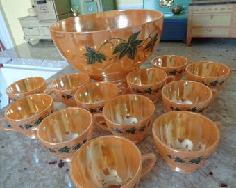 Amazing Vintage Mid Century Peach Luster 14 piece Punch Bowl set with Stand and 12 Cups