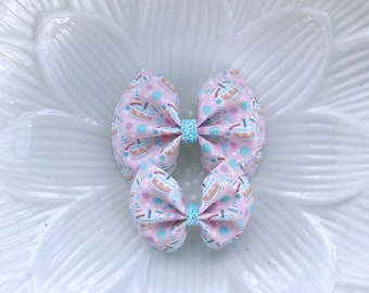 Birthday Cake faux leather bow