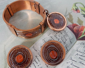 MATISSE RENOIR Signed Enamel on Copper Hinged Cuff Bracelet & Matching Earrings Set    NBI40