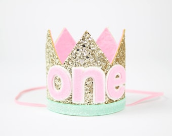 ONE Birthday Party Hat | First Birthday Smash Cake Glitter Crown | Baby Girl 1st Birthday Hat | Pale Gold + Mint + Pink ONE