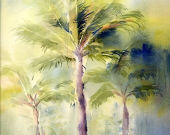 Palm Trees Art Watercolor Painting Print by ConnieTownsArt, Watercolor Palm Tree, Tropical Art, Matted to 11x14