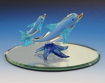 Handmade Glass Dolphin with Baby