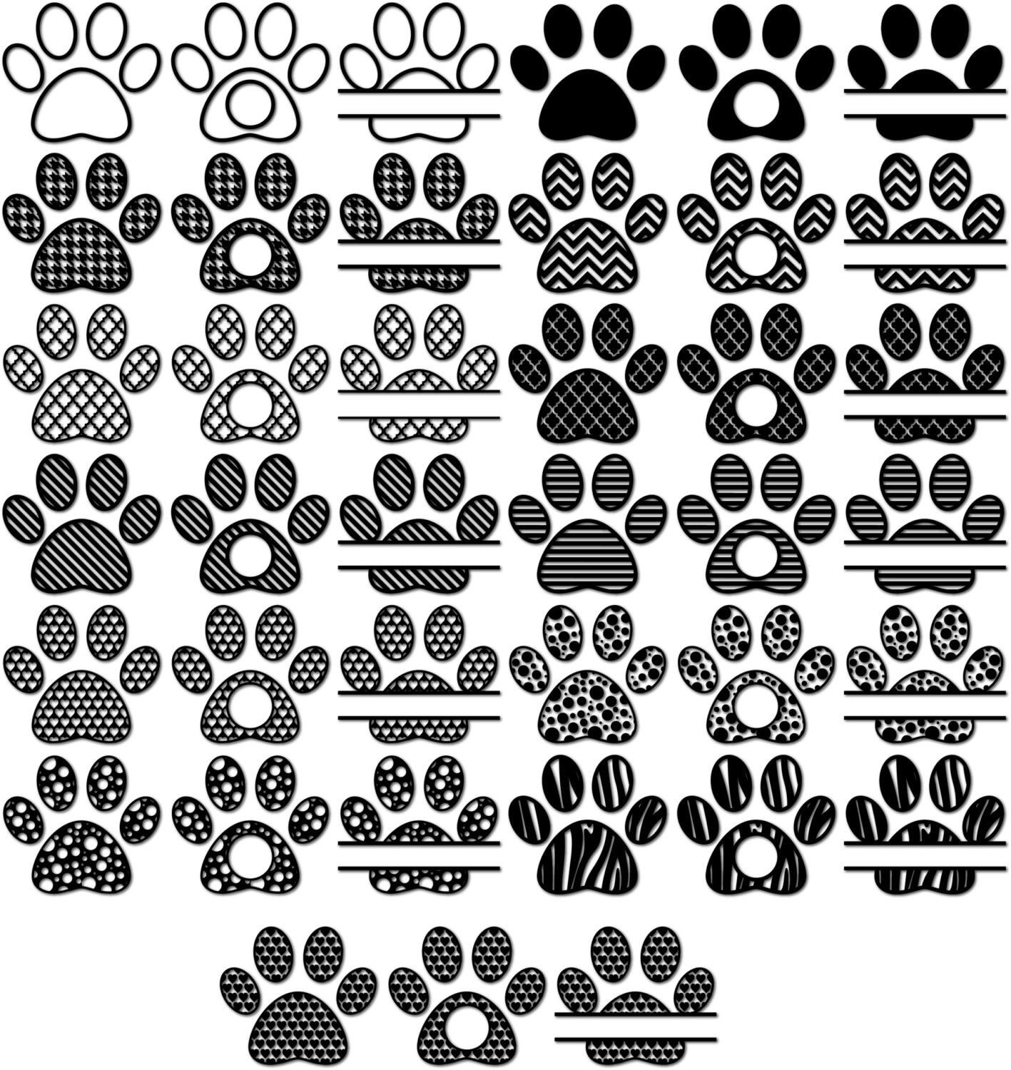 Download Paw SVG Monogram Frames for Vinyl Cutters Paw Print Svg Paw
