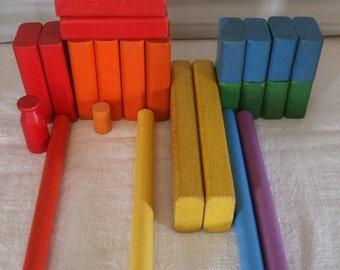 Building Blocks Rainbow Vintage Wood