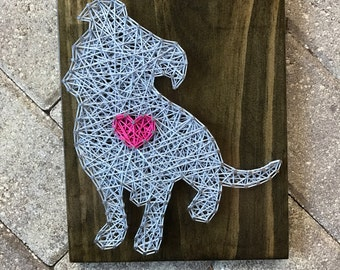 MADE TO ORDER - Pitbull Dog with Heart String Art Wooden Board- Dog, Pet