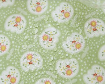 "Laminated Cotton Fabric - Tulip and Polka Dots - Green - 44"" Wide - By the Yard 55941"
