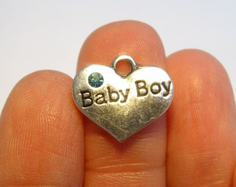 4 Baby Boy Charms Antique Silver 16 x 14mm - HEART02
