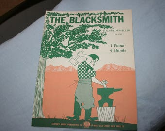 The Blacksmith,  Sheet Music for Piano, Elizabeth Heller, 1954, One Piano, Four Hands Sheet Music