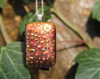 Textured red gold dichroic glass  pendant,  dichroic glass necklace , orange dichroic , red dichroic, fused glass, fused glass pendant