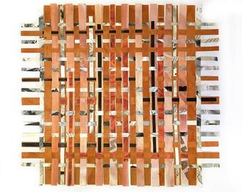 Crossword Paper Weaving-  13x14- Crossword Puzzles- Black, White, Sienna Brown, Salmon- Handwoven Paper Art