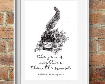 Illustrated Shakespeare Quote, 'The Pen is Mightier Than the Sword', Ink pot & Quill Shakespeare Quote print, William Shakespeare, Quote Art