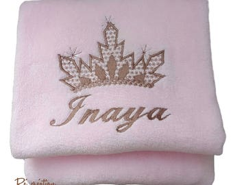 Embroidered fleece Plaid, frozen Crown pattern / name