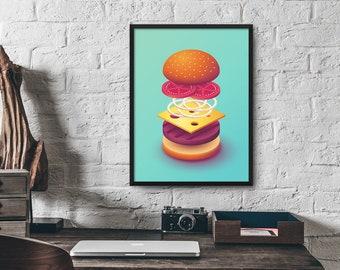 Isometric Burger Poster Art Print
