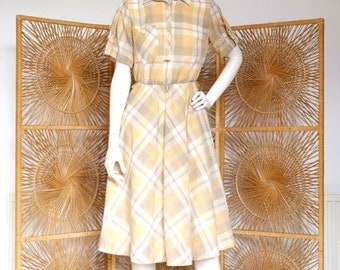 ON SALE 50's Yellow Checked Dress