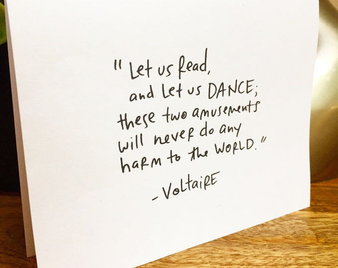 Voltaire Quote, simple thank you card, handlettered stationery, Bulk thank you cards, Sidesandwich