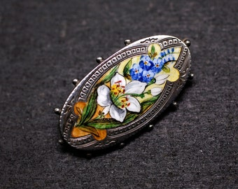Victorian Sterling Silver and Enamel Flower Brooch with Foxgloves and Lilies, Hallmarked for 1890