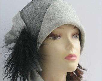 Hats 1920s 1920s hat Cloche hat gray Felt Hat Art Hat Art deco hat Retro hats Felt wearable art 1920s cloche hats folk style flapper hat