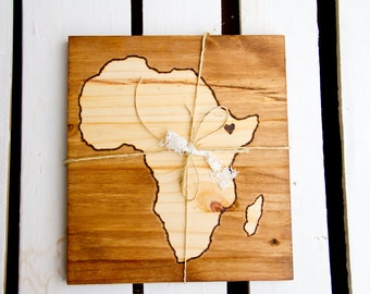Custom wood stain Continent or Country  map (Africa shown)