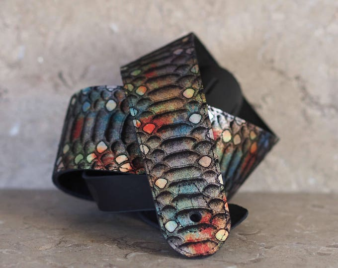 Rainbow Scales Leather Guitar Strap