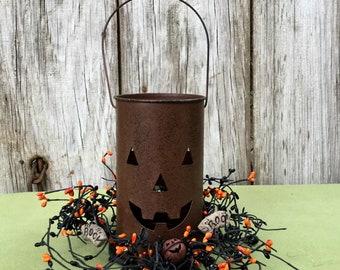 Jack O Lantern Luminary with Black and Orange Pip Berry Candle Ring