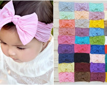 Baby headbands, Nylon Bow Headwrap, One size fits all nylon headbands, nylon head wraps, baby shower gift,top knot baby nylon headband, pink
