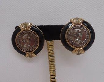 Vintage 1980's Coin Earrings with Black Enamel