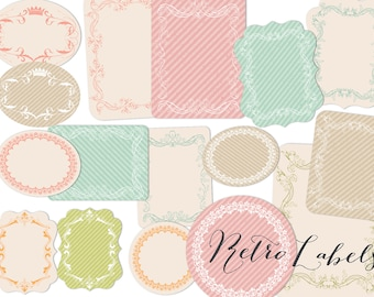 Labels Clip art  Retro design tags Printable labels PNG files