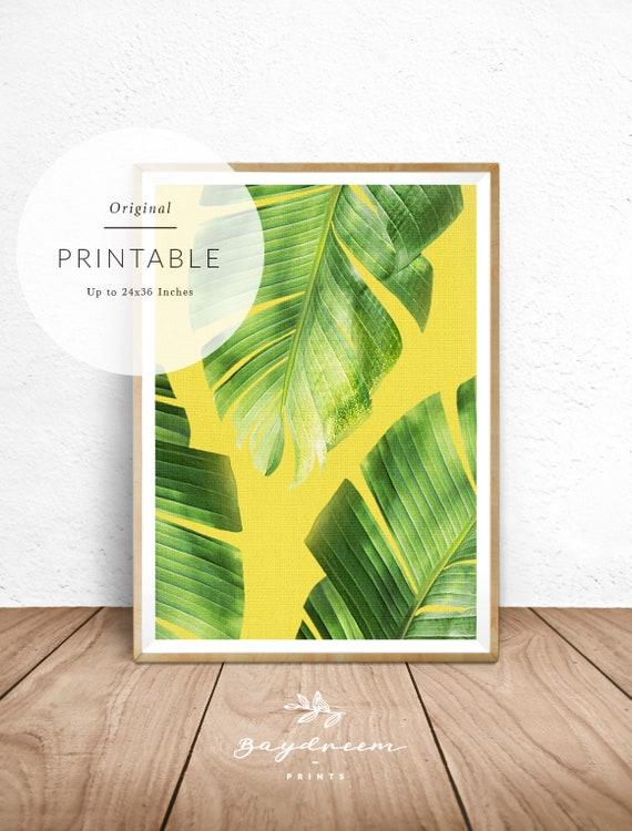 Banana Leaf Print Tropical Print Banana Leaves Wall Decor