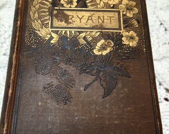 """Antique 1891 """"Poems"""" By William Cullen Bryant Gifted To Rabbi- Gold Gilt- Very Rare Book"""