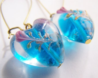Floating Flower Glass Heart Earrings - FREE SHIPPING WAI - blue glass with pink roses on Long Brass Wires - Spring - love Valentines Day