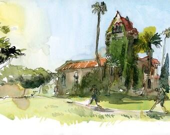 San Jose State University SJSU Tower Hall, alumni graduation gift, fine art print of a watercolor sketch