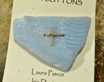 Big pastel baby blue fan  shaped drilled Maine sea potter  bakelite button with delicate lines impressed in the glass