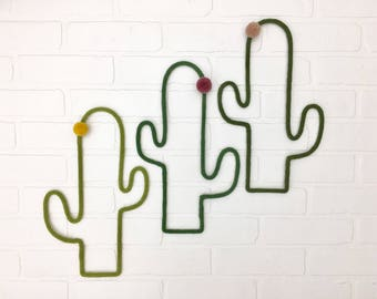 Handmade knitting wool, tassel, flower, wall decor, Cactus, trendy decoration