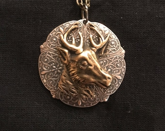 Rustic Silver and Brass Deer Necklace - Medallion, Christmas, Holidays, Nature, Reindeer, Antlers, Mountains, Rustic